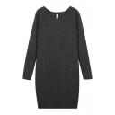 Round Neck Long Sleeve Bodycon Plain Dress