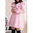 Pink Long Sleeve Waterfall Neck Single Button Tweed Coat