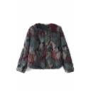 Color Block Faux Fur Long Sleeve Open Front Coat