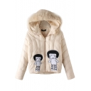 Hooded Cartoon Embroidery Patchwork Cropped Padded Coat