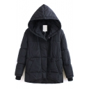 Hooded Single Breasted Plain Padded Long Coat