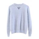 Beading Round Neck Cutout Front Plain Long Sleeve Sweater