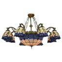 37.8 Inch Wide Blue 9-light Tiffany Chandelier Ceiling Light with Center Bowl