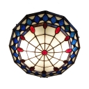 Blue Pattern 16 Inch Flush Mount Ceiling Light in Tiffany Stained Glass Style