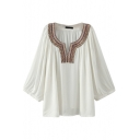 3/4 Length Sleeve V-Neck White Blouse