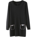 Round Neck Long Sleeve Double Pockets Long Sweater