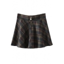 Zipper Front Skater Plaid Mini Skirt