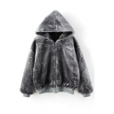 Hooded Long Sleeve Zipper Fur Coat