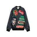 Stand Up Long Sleeve Plaid Print Single Breasted Coat