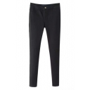 Zipper Fly Mid Waist Skinny Black Plain Pants