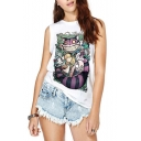 White Round Neck Sleeveless Cartoon Print Tank