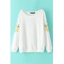 Scoop Neck Long Sleeve Embroidery Sweatshirt