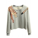 Cropped Tiger Print Round Neck Long Sleeve Sweatshirt