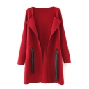 Plain Lapel Long Sleeve Drawstring Waist Long Cardigan