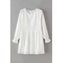 White Round Neck Lace Elastic Wrist Smock Dress