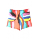 Rainbow Color Print Double Pockets Loose Shorts