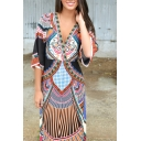 Deep V-Neck Elastic Waist Bohemia Style Tribal Print Dress