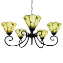 31 Inch Wide Green Leaf Theme 5-light Tiffany Chandelier Ceiling Light