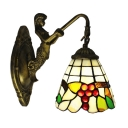 6 Inch Wide Country Style Stained Glass Tiffany Wall Light with Grape Fruit Pattern