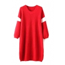 Round Neck Long Sleeve Color Block Tunic Sweater