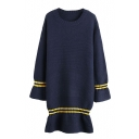 Round Neck Long Sleeve Stripe Trims Ruffle Hem Knit Dress