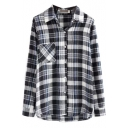 Lapel Long Sleeve Plaid Single Pocket Shirt