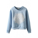 Blue Round Neck Floral Print Long Sleeve Sweatshirt