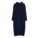 Turtleneck Long Sleeve Plain Long Knit Dress