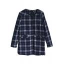 Single Breasted Long Sleeve Plaid Tweed Coat