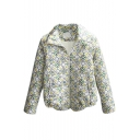Lapel Zipper Print Padded Short Coat
