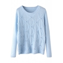 Round Neck Long Sleeve Beading Plain Sweater