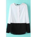 Round Neck Long Sleeve Color Block Dip Hem Blouse
