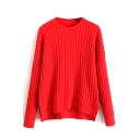 Plain Round Neck Batwing Long Sleeve Dip Hem Sweater