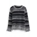 Stripes Round Neck Long Sleeve Tassel Hem Sweater