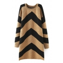 Round Neck Chevron Raglan Long Sleeve Knit Dress