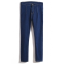 Plain Zipper Fly Double Pockets Jeans