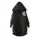 Hooded Zipper Drawstring Hem Patchwork Padded Long Coat