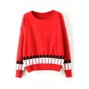 Round Neck Finger Nail Print Long Sleeve Sweater