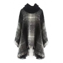 Turtleneck Plaid Tassel Hem Asymmetrical Cape