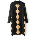 High Neck Rhombus Print Color Block Long Sweater