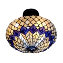 Peacock Pattern 16 Inch Semi Flush Mount Ceiling Lighting in Tiffany Stained Glass Style