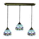 Baroque Style 3 Lights Tiffany Pendant in Antique Brass Tone