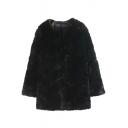 Black Faux Fur Open Front Long Sleeve Coat