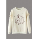 Rabbit Embroidery Ruffle Detail Round Neck Sweatshirt