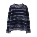 Round Neck Long Sleeve Stripes Pullover Sweater