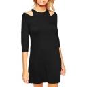 Round Neck Cold Shoulder 3/4 Length Sleeve Black Dress