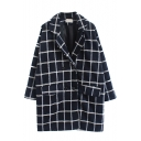 Notched Lapel Double Breasted Plaid Coat