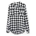 Lapel Long Sleeve Button Down Plaid Shirt