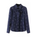 Lapel Tie Neck Button Down Print Long Sleeve Shirt