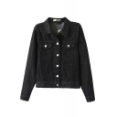 Lapel Single Breasted Double Pockets Long Sleeve Denim Coat